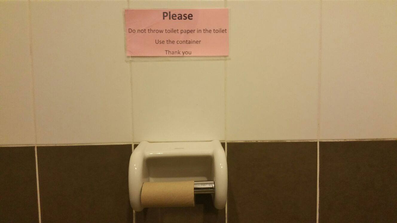 Do not throw toilet paper in the toilet